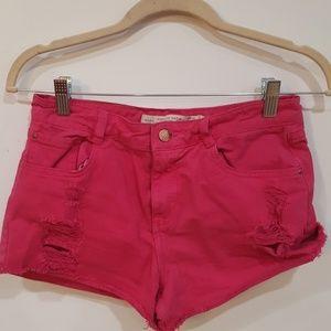 Pink Zara Distressed Shorts 6